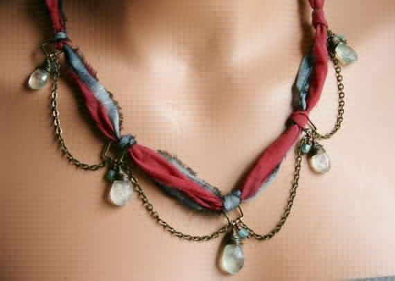 Chain and Fabric Necklace