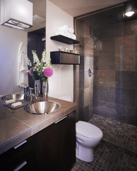 Brown, Black And Steel Bathroom