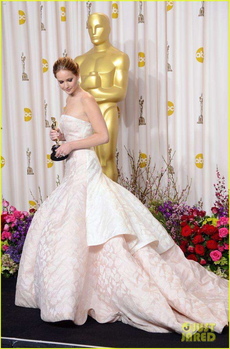 Oscar winning celebrity wedding dresses - Jennifer Lawrence Receives An Oscar As Best Actress At The Annual Academy Awards Pressroom