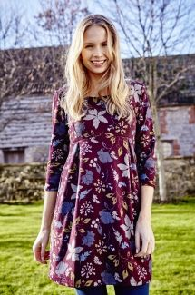 Laurie Tunic Winter Garden - Burgundy & Green