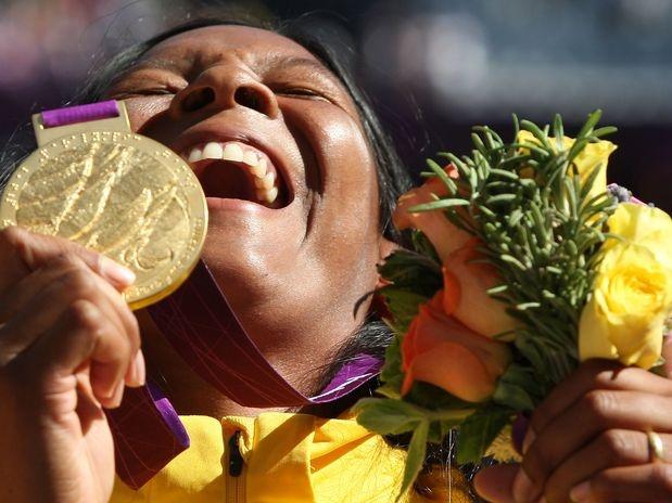 Com direito a recorde mundial, Shirlene Coelho conquistou a medalha de ouro no lançamento de dardo da classe F37/38 dos Jogos Paralímpicos de Pequim  Foto: Patrícia Santos/CPB/Divulgação