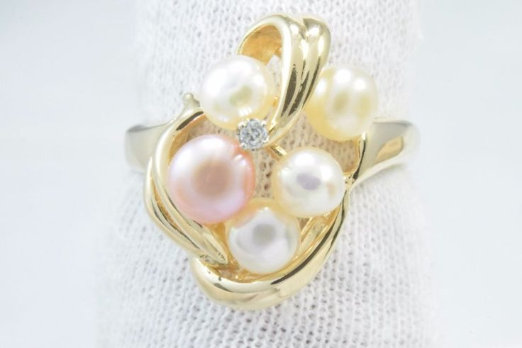 Women's Cluster Natural Mined Diamond & 4.5-7.0 mm Pearl Ring in 14k Solid Gold #Artisian #Cluster