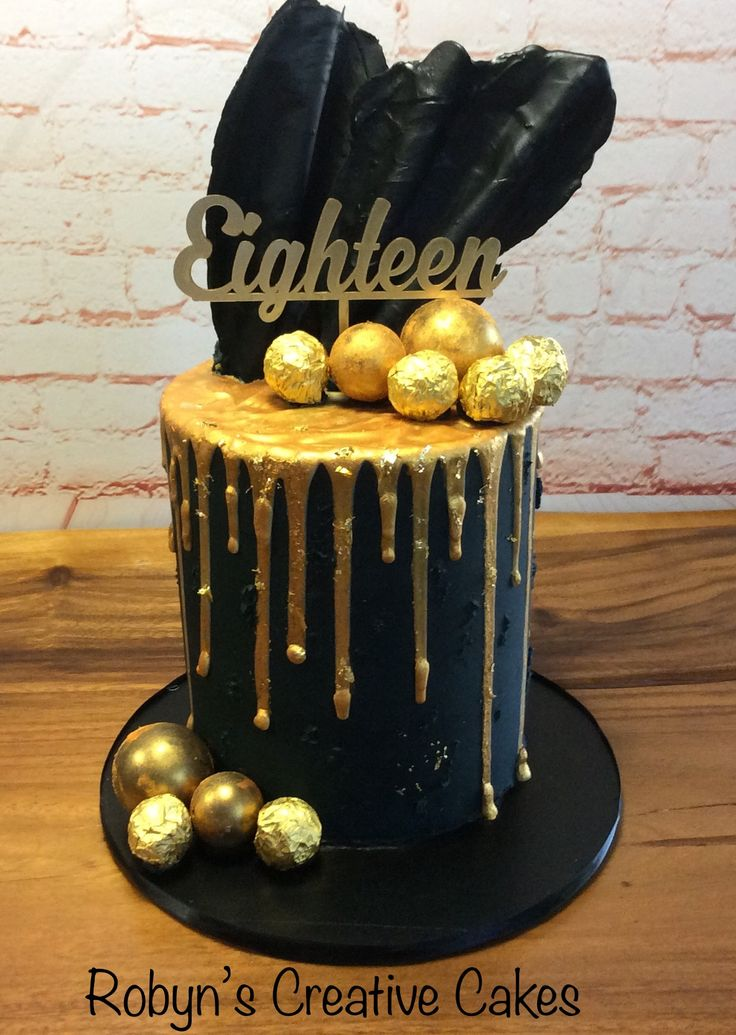 Black and gold 18th birthday cake