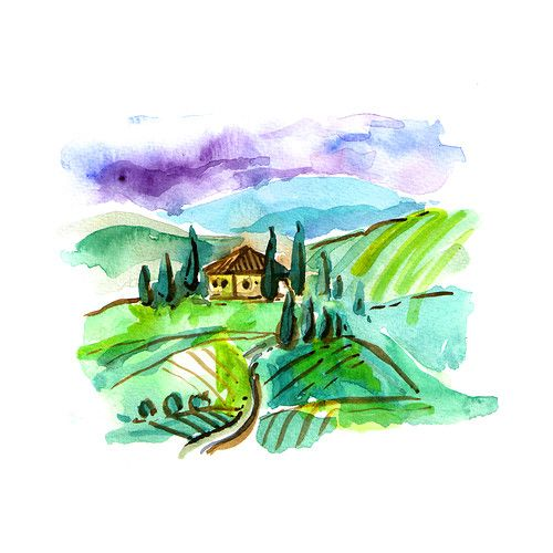 Watercolor Tuscany landscape