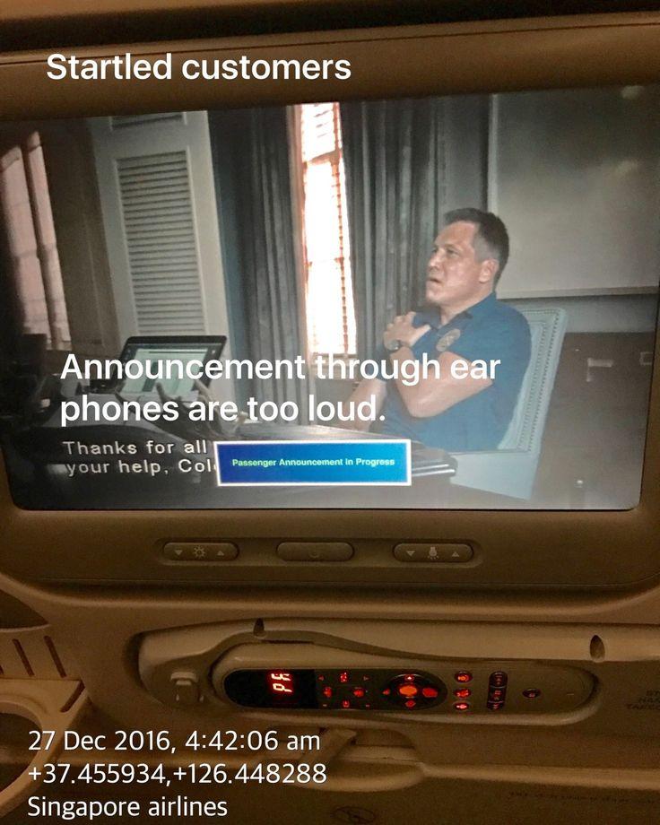 Announcement via Earphones for Singapore Airlines r too Loud see: www.bentsai.com @singaporeairlines_page  #Singapore #l #SouthKorea #Japan #Australia #USA #China #India #Russia #Brazil #UK