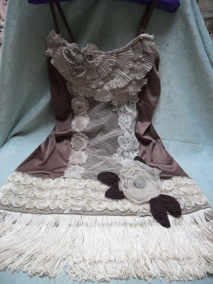 FLAPPER Great Gatsby 1920s Jazz Age Speakeasy Roaring 20s - Vintage Slip Make Over - Chocolate and Creme. $110.00, via Etsy.