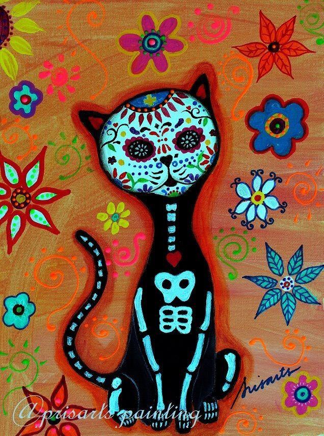Mexican Dia de los Muertos Cat Original El GATO Painting Art Flowers PRISARTS #MexicanFolkArt #diadelosmuertos #elgato Pristine Cartera-Turkus