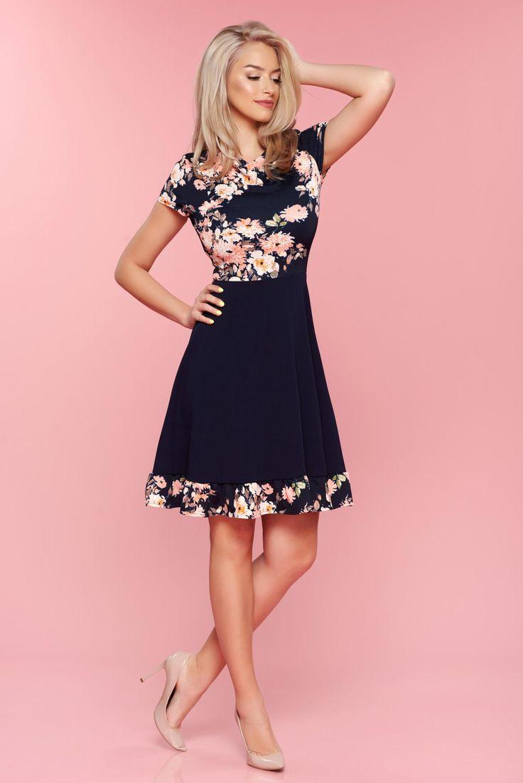 Comanda online, Rochie in clos cu maneca scurta StarShinerS albastru-inchis cu imprimeuri florale. Articole masurate, calitate garantata!