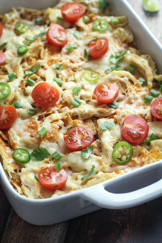 Mexican Chicken Chilaquiles Casserole - basically like the best baked nachos, ever.