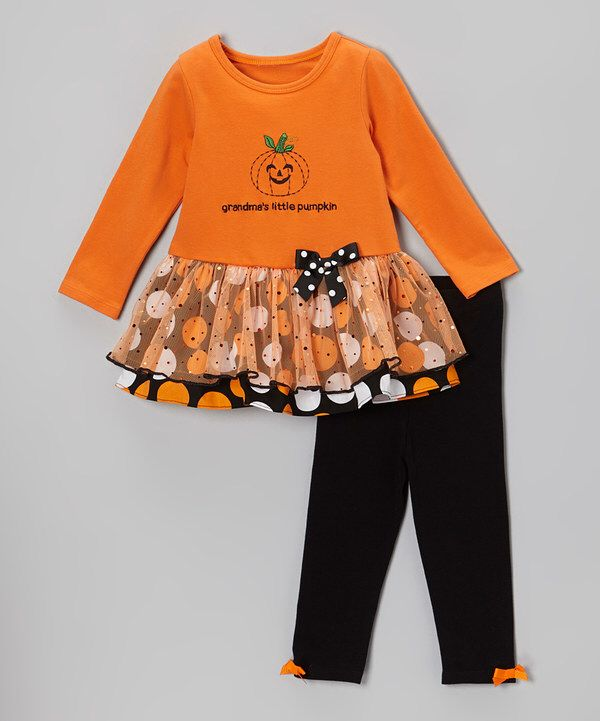 Look at this Gerson & Gerson Orange 'Pumpkin' Dress & Leggings - Toddler & Girls on #zulily today!