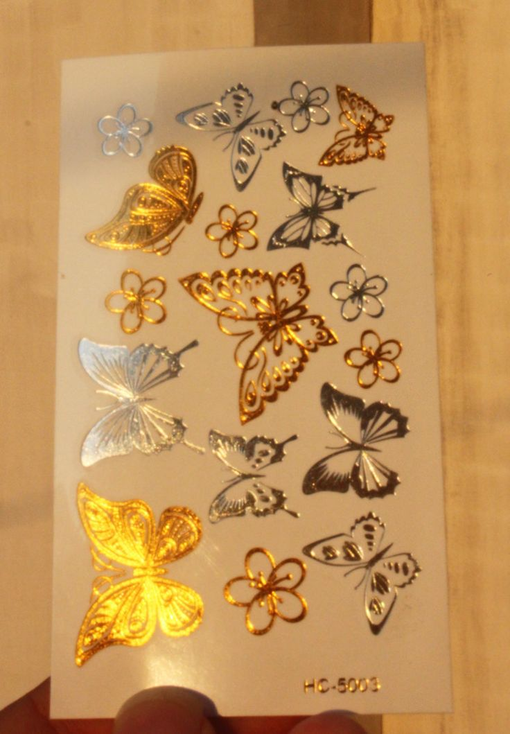 Бабочка Маленький Цветок Золото Татуировки Женщины Макияж Золотой Сексуальная Временные Татуировки Наклейки