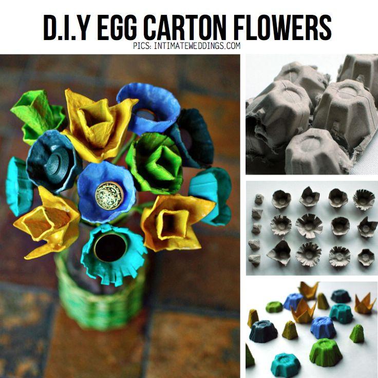 Egg Carton Flower bouquet, featured in Egg Carton DIY Special on ScrapHacker.com