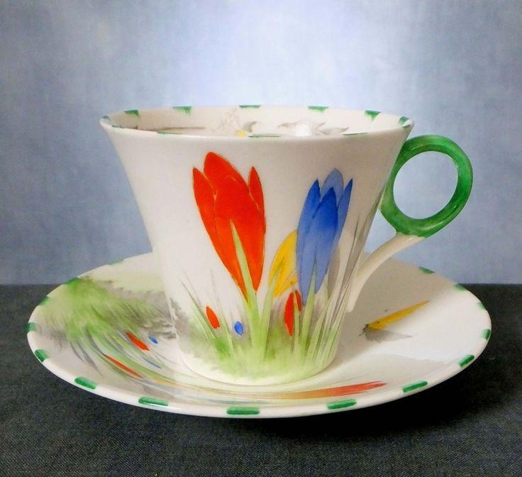 RARE SHELLEY HAND PAINTED ART DECO CROCUS PATTERN, REGENT SHAPE COFFEE SET | eBay
