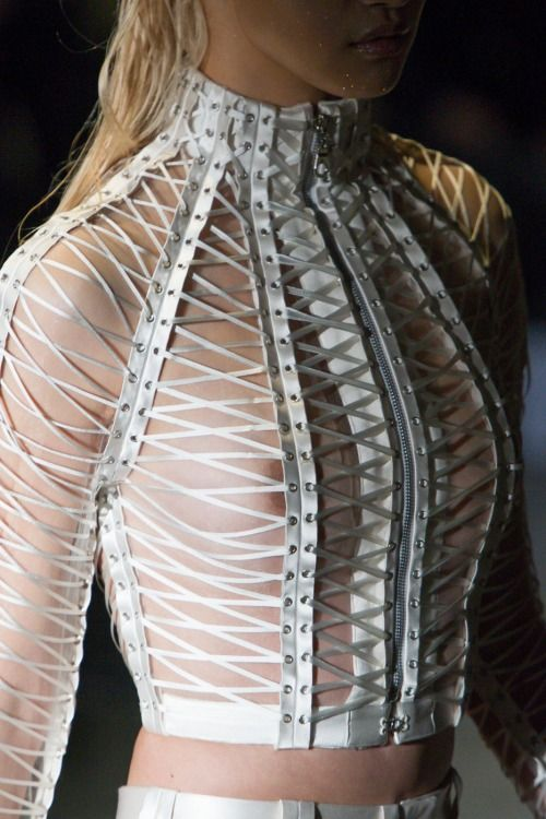 A corset inspired piece by Serkan Cura. Modern and futuristic.