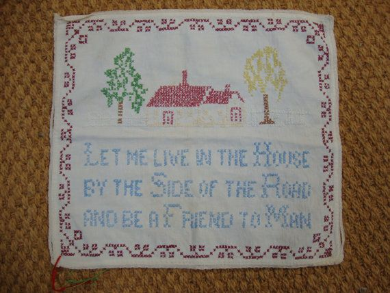 "Vintage Cross Stitch Sampler ""Side of the Road"""