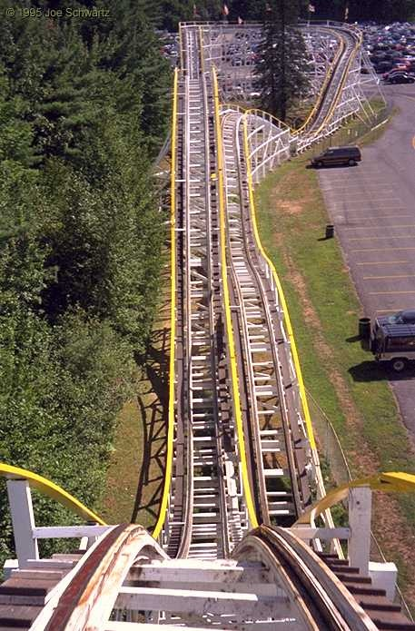 Yankee Cannonball @ Canobie Lake park in New Hampshire. Despite it looking rickety here, it's very well maintained, VERY smooth and has a lot of great air time.