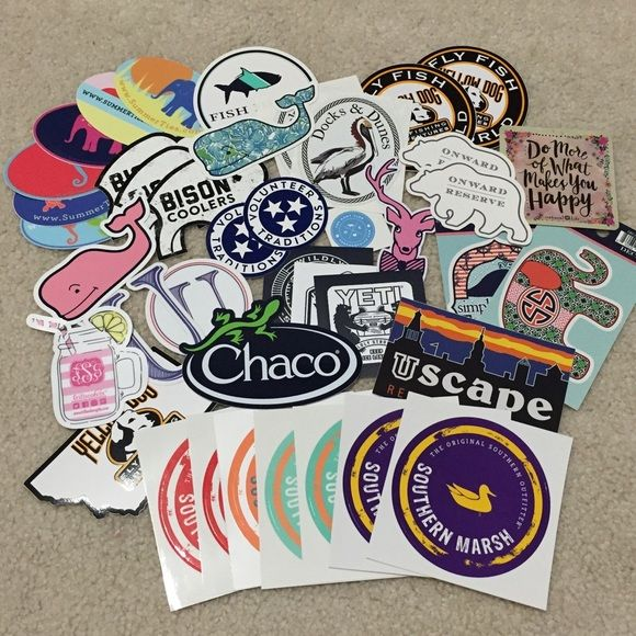 PREPPY STICKER BUNDLE SOLD OUT: Jadleynn Brooke, Vineyard Vines, Deep River Outfitters  Preppy stickers like Vineyard Vines and Patagonia are perfect for cars, laptops, waterbottles, etc! Some stickers may cost a $1 more because of the brand!  1 for $5 2 for $7 3 for $8 4 for $9 5 for $10 6 for $11  DO NOT PURCHASE THIS LISTING, I WILL MAKE A SEPARATE ONE JUST FOR YOU! (:  (free shipping on Merc) Patagonia Other