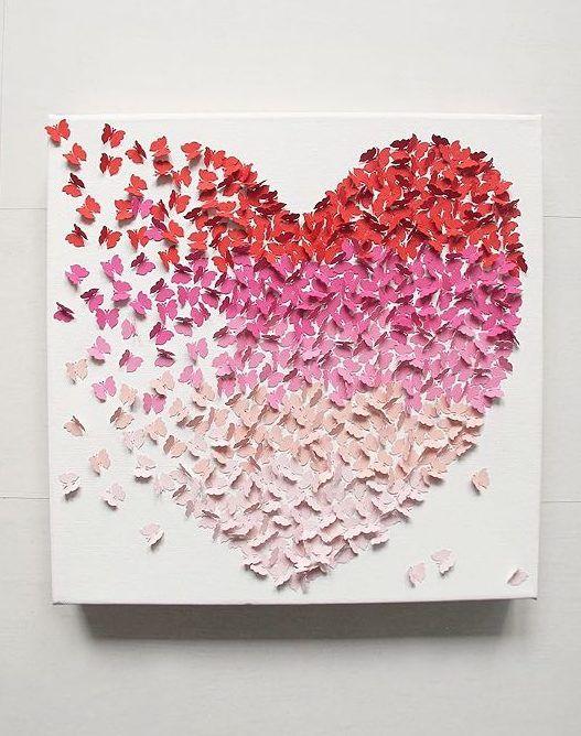 Tutos DIY : Faire un tableau 3D en papillons de papier via DaWanda.com