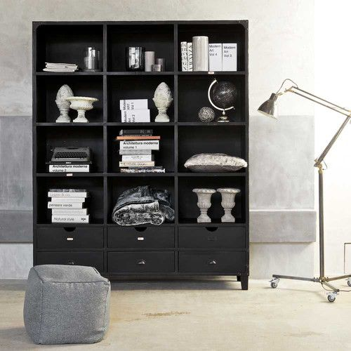 biblioth que indus en m tal noire l 160 cm accessoires d co meubles pinterest. Black Bedroom Furniture Sets. Home Design Ideas
