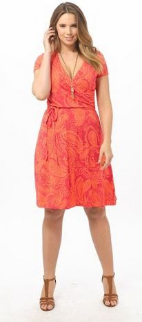 Shirred Surplice Dress In Coral Bliss by Lands' End,Available in sizes M/L,0X/1X/2X and 3X