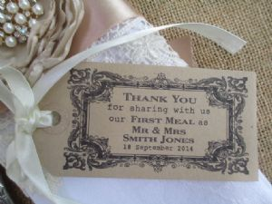 25 Personalised Wedding Table Place Setting Tag /Napkin Tie (2)