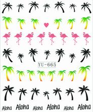 1X Nail Sticker palmier flamants transferts d'eau autocollants Nail Stickers autocollants eau Decal Opp manches emballage YU665(China (Mainland))