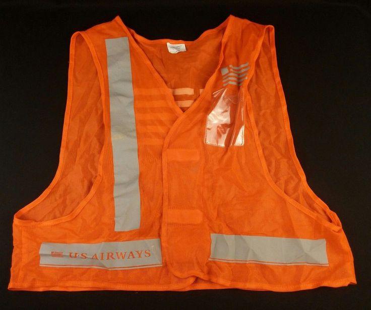 US Airways Orange Gann Safety Vest Large With Gray Logo Stripes #Gann