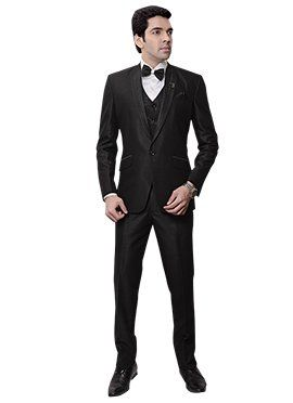 Black Rayon Lapel Suit