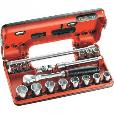 "Jeu de clés à pipe FACOM 3/8"" - 14 douilles + 2 rallonges - JL.DBOX1"