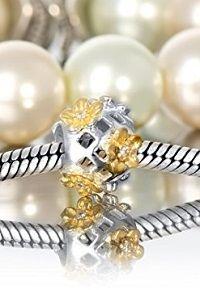 #AndanteStones 925 Sterling Silber Gold Bead #Gänseblümchen Element Kugel #Armband + Organzasäckchen