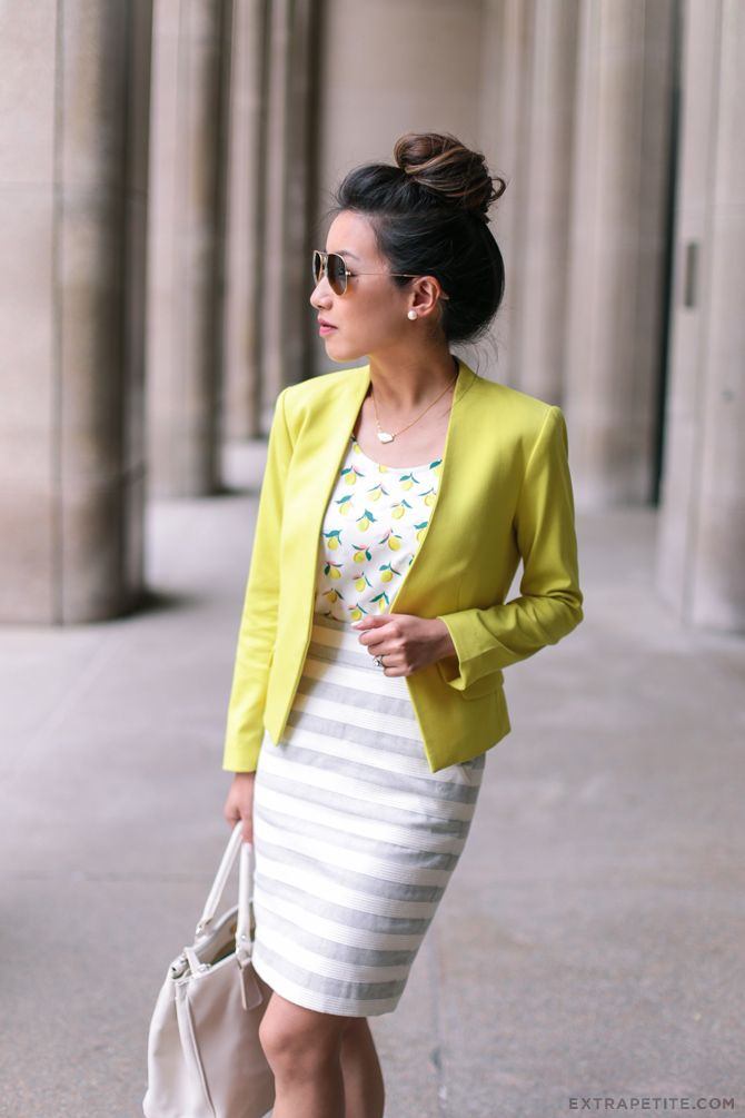 summer style for casual / business casual office - yellow blazer, striped pencil skirt, lemon top + hair in bun