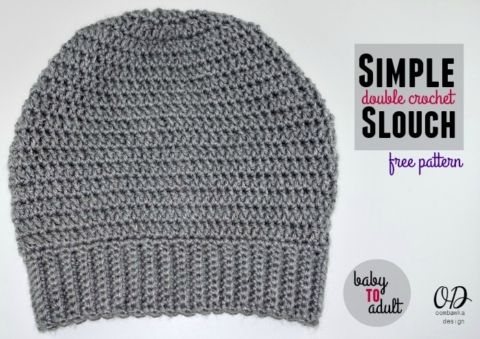 Slouch Hat Free Pattern - Adult Medium Gray Slouch Cover