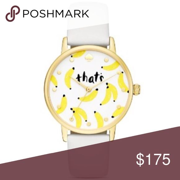 "Kate Spade | ""That's Bananas"" Watch A fun and fruity dial adds whimsy to kate spade new york's too-cute watch. New in original box.   Case size: 34mm Buckle closure Water resistant to 3 ATM Quartz 3-hand movement Glossy white dial with banana print, gold-tone case and white leather strap Gold tone–plated stainless steel/leather kate spade Accessories Watches"