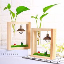1 x  New Glass Tabletop Plant Bonsai Flower Vase With Wooden Glass Vase With Light Bulb Tray Home Wedding Decoration New Year ** Click the image to visit the  AliExpress.com #HomeDecor