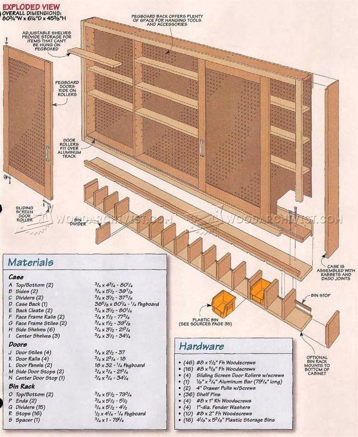 Easy Garage Cabinets Plans: #1798 Shop Pegboard Cabinet Plans