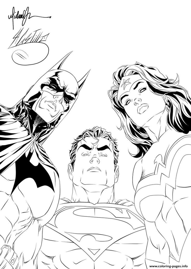 Print batman superman wonder woman looking at you for adult coloring pages