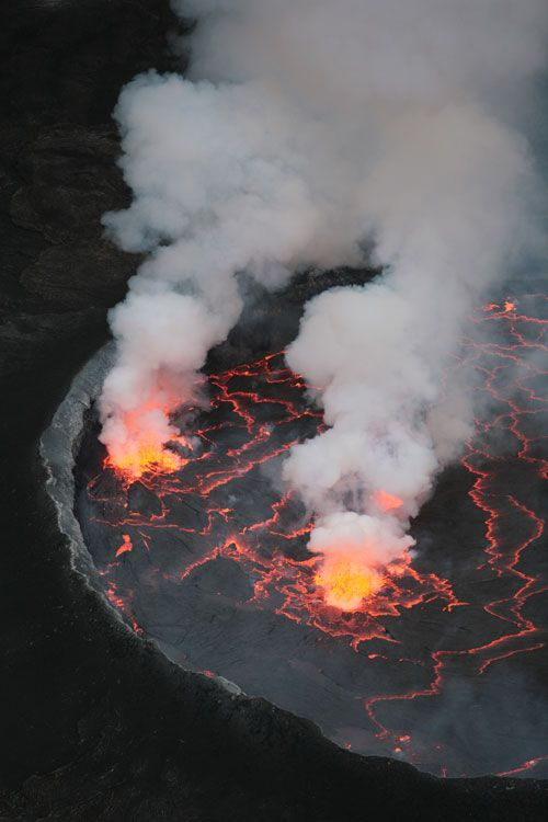 View of the Nyiragongo volcano, located inside Virunga National Park. Mount Nyiragongo is one of the most famous volcanoes in Africa and one of eight in the Virunga Mountains, located in the Democratic Republic of Congo near the town of Goma