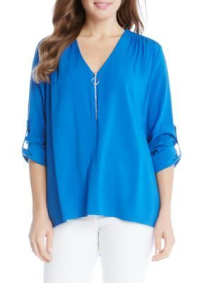 Karen Kane Women's Zip-Up Front Top - Cobalt - Xs