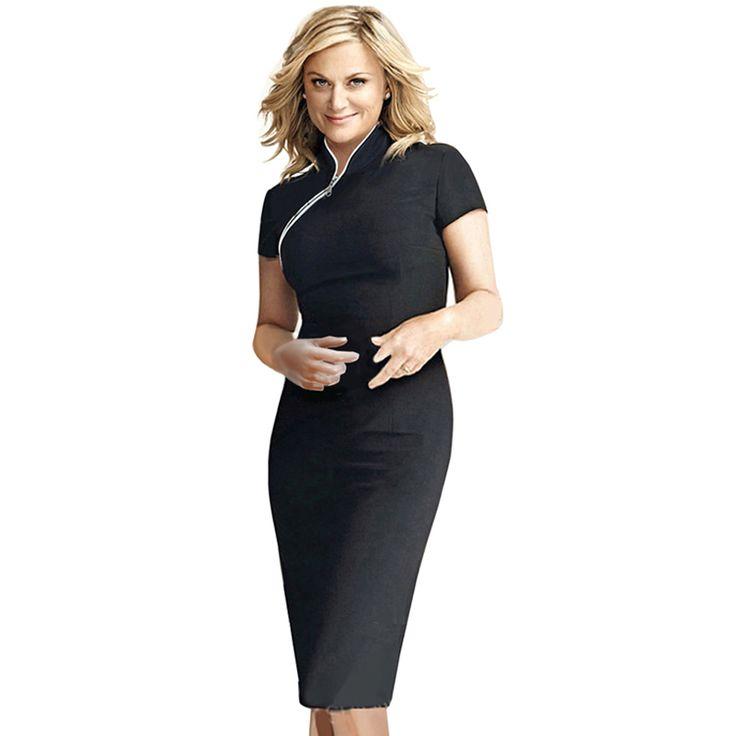 2015 Summer Women Office Dress Ladies Vintage Patchwork Mandarin Collar Sheath Knee Length Black Pencil Bodycon OL Work Dress 60