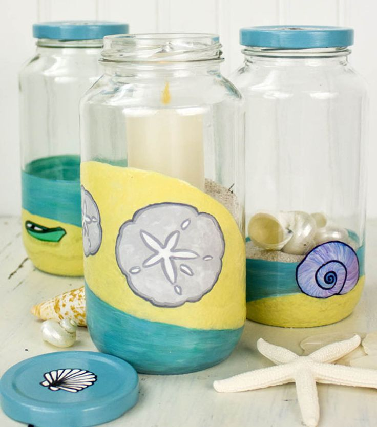 Love these @DecoArt Inc. painted ball jars! Perfect for storing all your beach collections!: Ball Jars, Projects, Jars Trio, Feelings Crafty, Decoart Beaches, Glasses Jars, Beaches Jars, Mason Jars, Paintings Jars