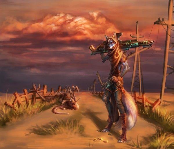 Охота Akineza, фурри, арт, Оружие, монстр