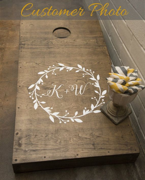 This is a gorgeous decal set to personalize your the wedding cornhole game set for the bride and groom. Bride and groom initials or wedding