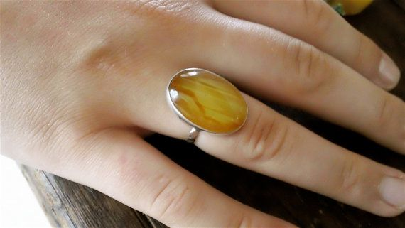Vint. Butterscotch AGATE Ster. Ring by CrownofLifegems on Etsy
