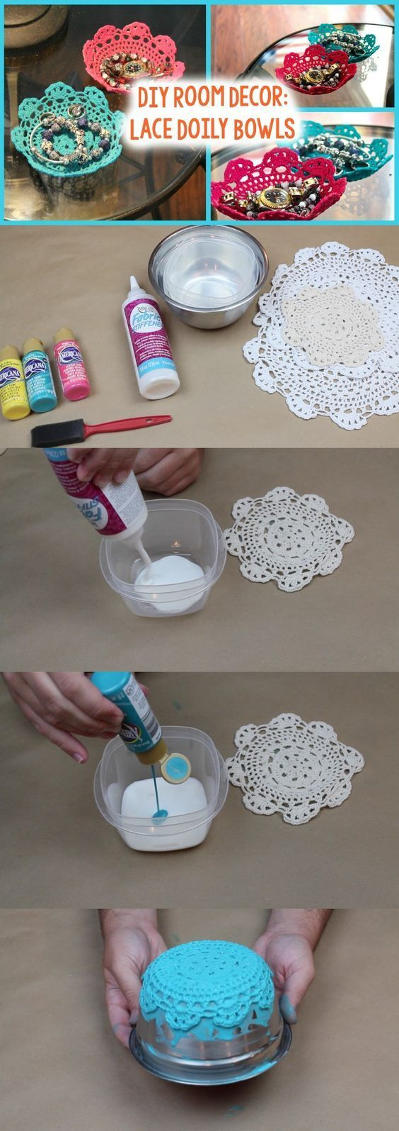 DIY Lace Doily Bowl - Perfect DIY to hold jewlery from Tanner Bell::