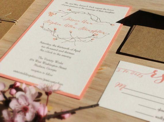 Handmade Wedding Invitation - Country Chic -Twine and Twig Wedding Invitation - SAMPLE -