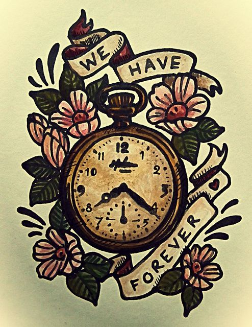 pocket watch, illustration, old, vintage,   tattoo, design, watercolour, painting