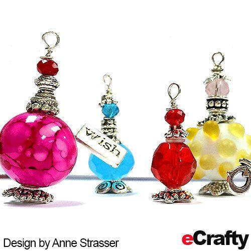 TUTORIAL: Anne created these super cute beaded mini bottle charms with a mix of eCrafty.com's jewelry supplies including bali beads, bali bead caps, crystal beads, fancy bead mixes, earring nuts and headpins. #jewelrysupplies #beads #diy #handmade #jewelry #etsy #diyjewelry #diycrafts #diydollhouse #wish #wishbottles #minibottles www.eCrafty.com