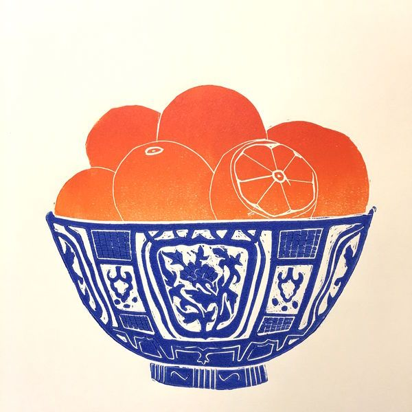Oranges in a Blue Bowl - Linocut