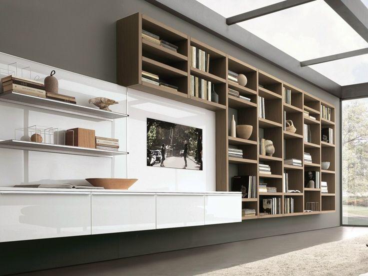 Mueble modular de pared composable montaje pared lacado Crossing Colección MisuraEmme by MisuraEmme | diseño Mauro Lipparini, CRS MisuraEmme