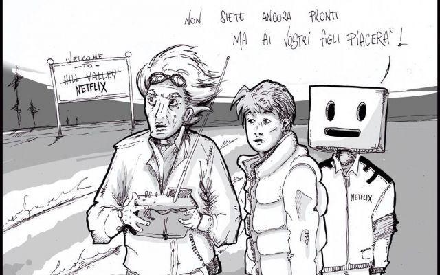"""Ritorno (d)al futuro: siete pronti a Netflix? Nei giorni in cui il mondo celebra il trentennale del film """"Ritorno al Futuro"""", una vignetta ci mostra come reagirebbero Doc e Marty di fronte alla vera novità dell'entertainment online. Perché parli #netflix #ritorno #futuro"""